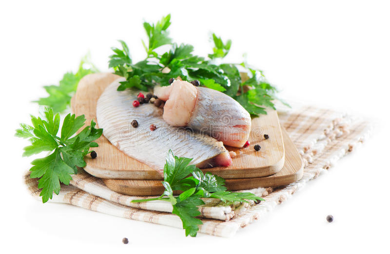 Herring. With herb on white stock image