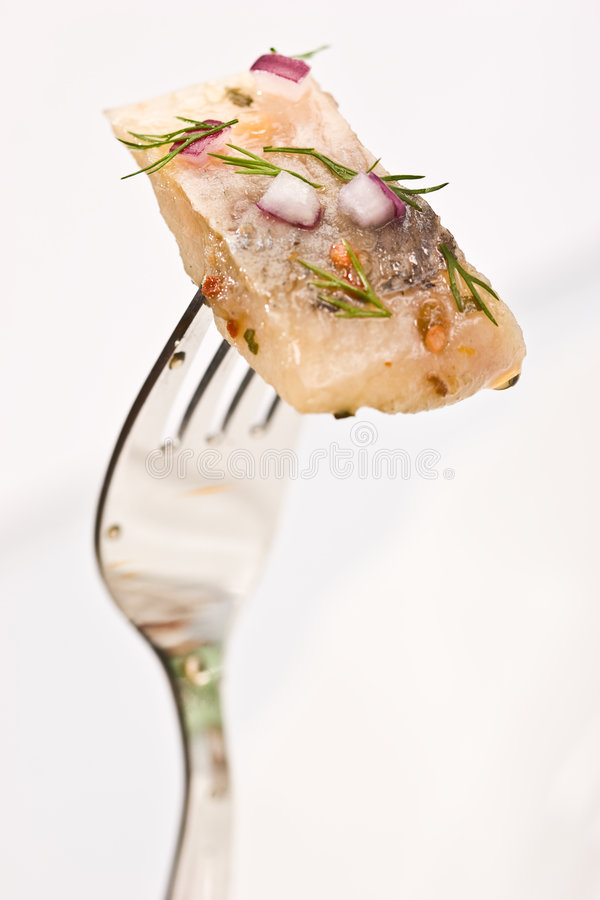 Herring. Macro picture of fillet herring with vegetables on fork stock photography