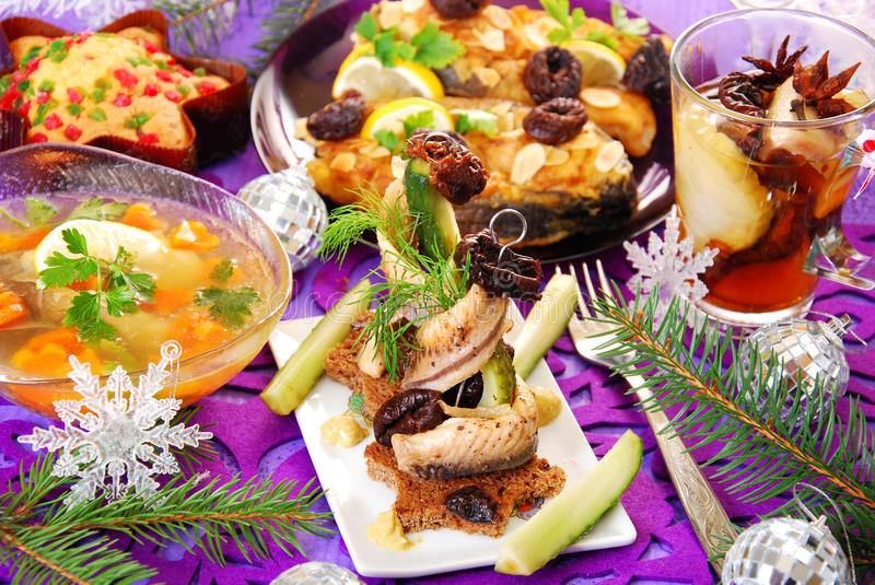 Herring appetizer for christmas royalty free stock photos