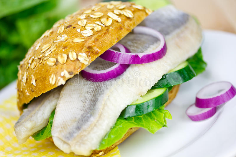 Herring in a bun. Herring and onions in a bun stock images