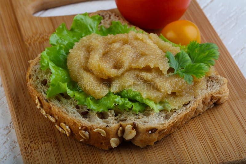 Herring caviar sandwich royalty free stock photos
