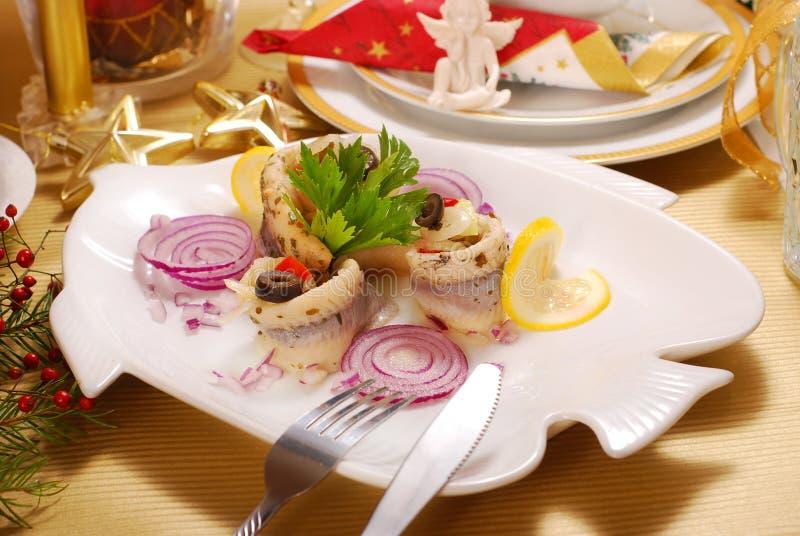 Herring fillets for christmas stock image