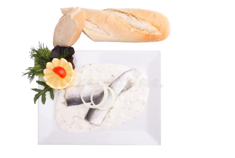 Herring Fillets In Dill Sauce Stock Photos