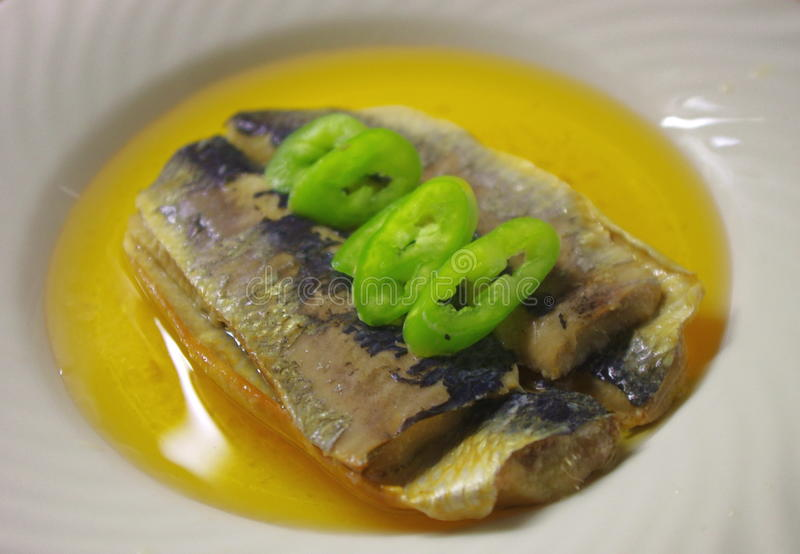 Herring fillets with green pepper in oil royalty free stock images