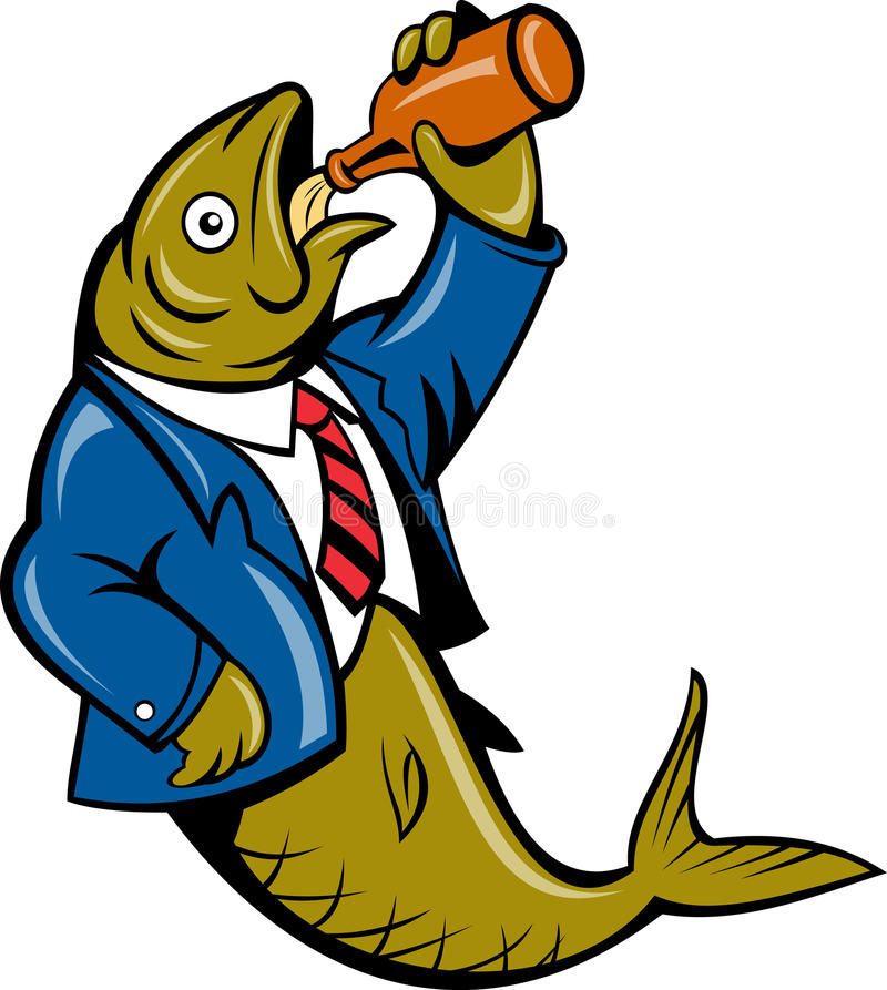 Herring fish drinking beer bottle. Illustration of a cartoon Herring fish business suit drinking beer bottle isolated on white vector illustration
