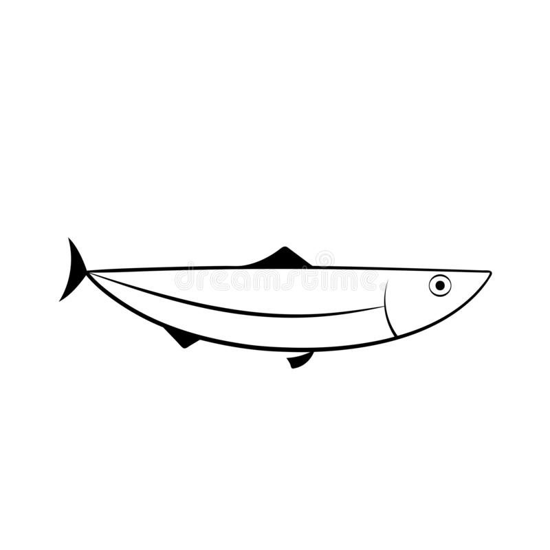 Herring fish outline icon. Seafood clipart isolated on white background vector illustration