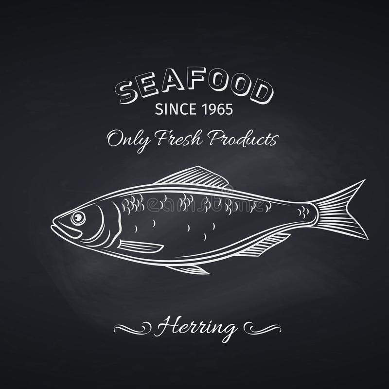 Herring hand drawn icon. Hand drawn herring fish on chalkboard. Seafood icon menu restaurant design. Engraving style. Vector illustration vector illustration