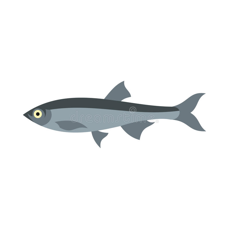 Herring icon, flat style. Herring icon in flat style isolated on white background. Sea creatures symbol stock illustration
