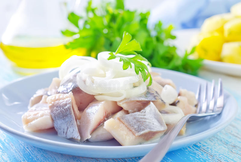 Herring with onion. In bowl stock image