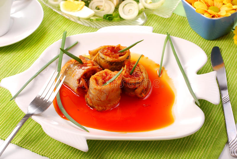 Download Herring Rolls In Salsa Sauce  For Easter Stock Photo - Image of savory, paprika: 13213690