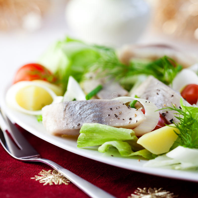 Herring Salad for Christmas stock photos