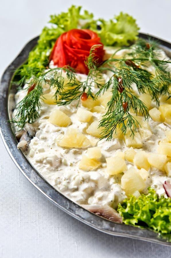 Herring salad dish. Elegant dish of fresh herring fish salad with cream, potatoes, lettuce and green decorations stock photos