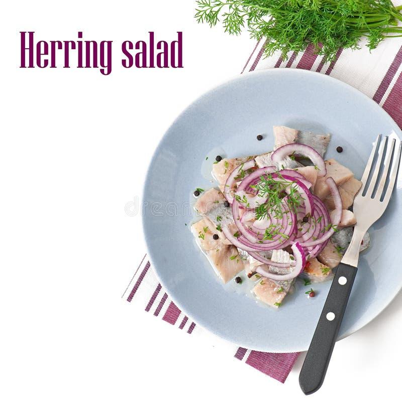 Herring salad with onion stock photo