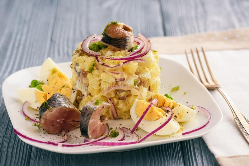 Herring salad with potato, eggs, cucumbers and onion. stock image