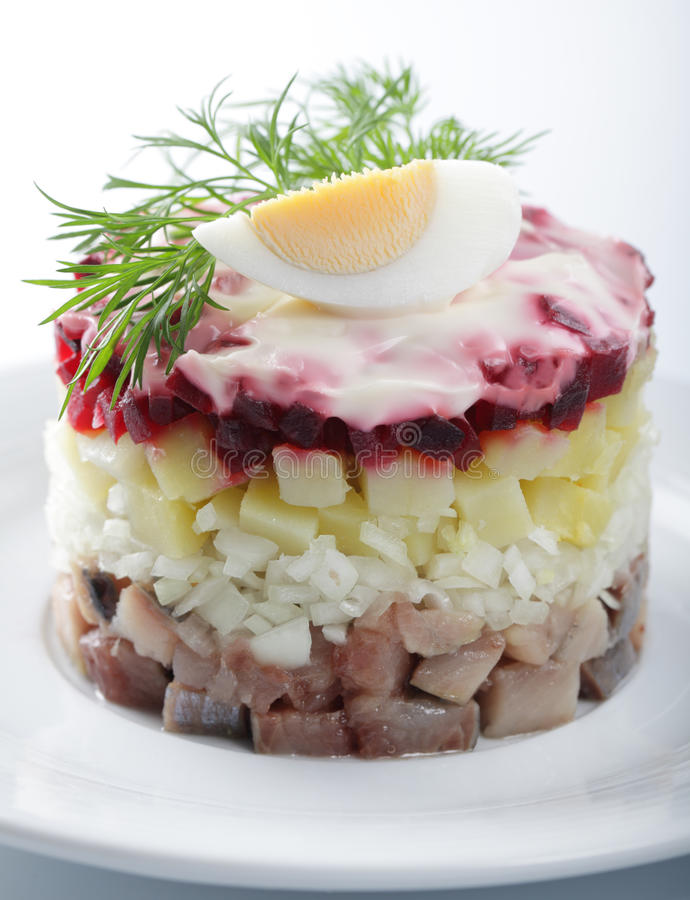 Herring Salad With Potatoes And Beetroot Royalty Free Stock Photo