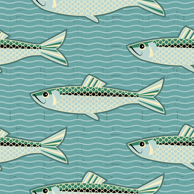 Herring seamless pattern.Vector fish background. For texture stock illustration
