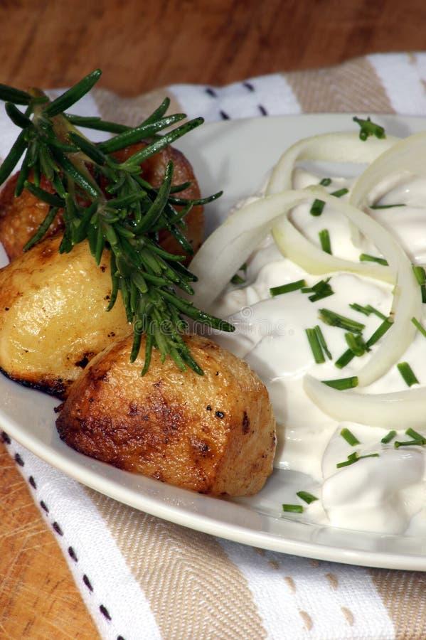 herring in yogurt sauce on a white plate royalty free stock photo