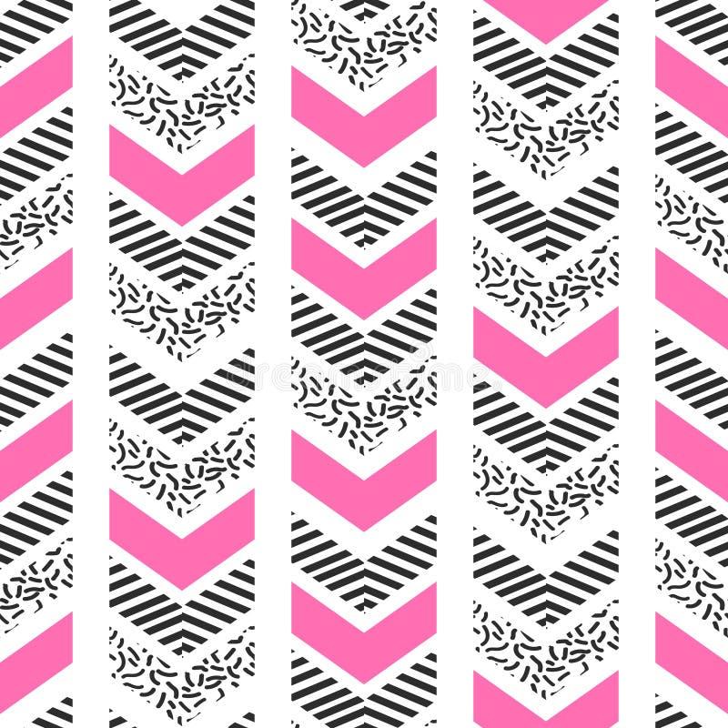 Herringbone abstract seamless pattern in memphis style. stock illustration