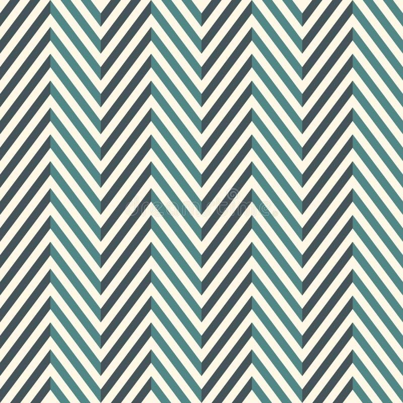 Herringbone abstrakta tło Błękit barwi bezszwowego wzór z szewron diagonalnymi liniami ilustracji