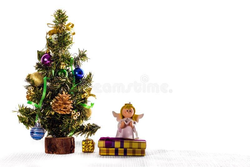 Herringbone and angel - Christmas theme. Copy space stock photos