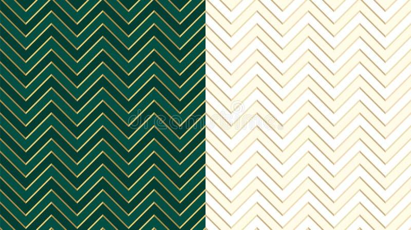 Chevron zig zag emerald dark green seamless pattern with golden lines. Cute ivory background in light halftone. stock illustration