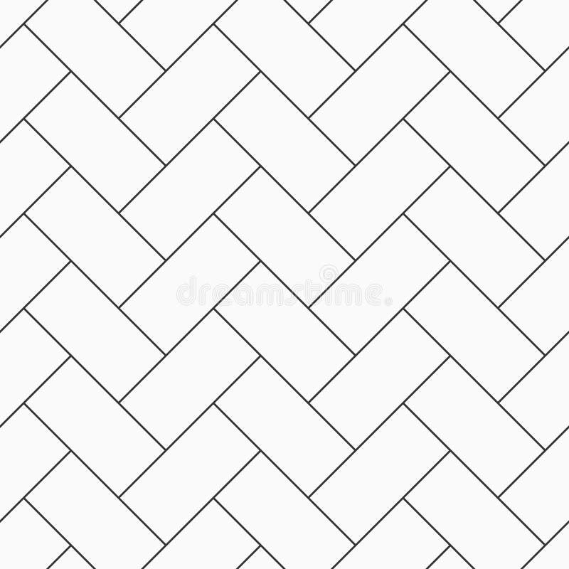 Herringbone parquet seamless pattern. Outline vintage wooden floor. Repeating geometric tiles. royalty free illustration