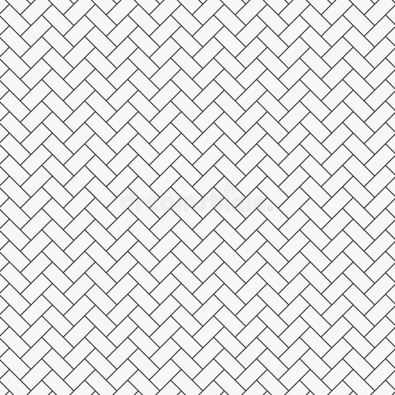 Herringbone pattern. Rectangles slabs tessellation. Seamless surface design with white slant blocks tiling. Floor cladding bricks. Repeated tiles ornament vector illustration