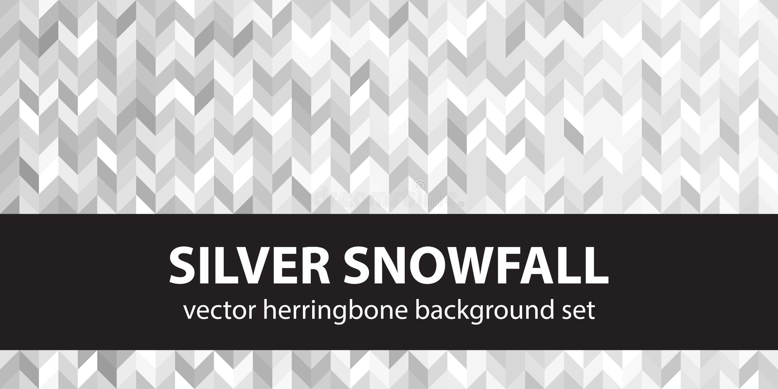 Herringbone pattern set Silver Snowfall. Vector seamless parquet backgrounds. With gray, silver and white polygons stock illustration