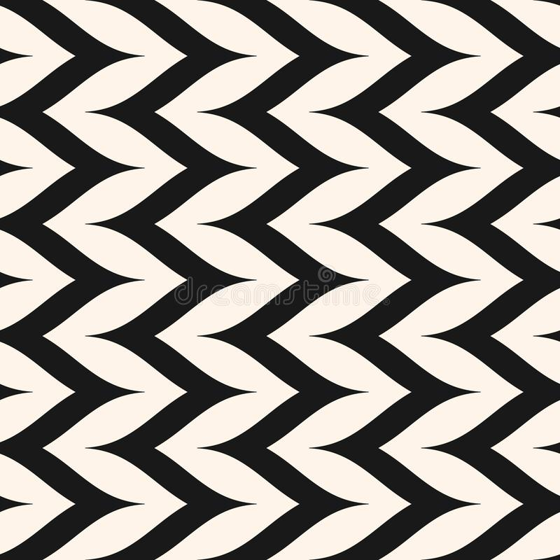 Herringbone pattern, vertical curly zig zag lines, monochrom texture. Vector seamless pattern, curly zig zag lines. Simple vertical zigzag stripes texture royalty free illustration