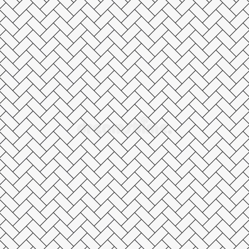 Herringbone wzór Prostokąt cegiełek tessellation Bezszwowy nawierzchniowy projekt z białym nachyleniem blokuje taflować ilustracja wektor