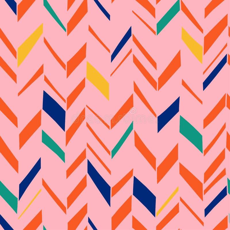 Herringbone wzór z scandinavian artystycznego kolorowego tła geometrycznego projekta wystroju bezszwowym abstrakcjonistycznym min ilustracja wektor