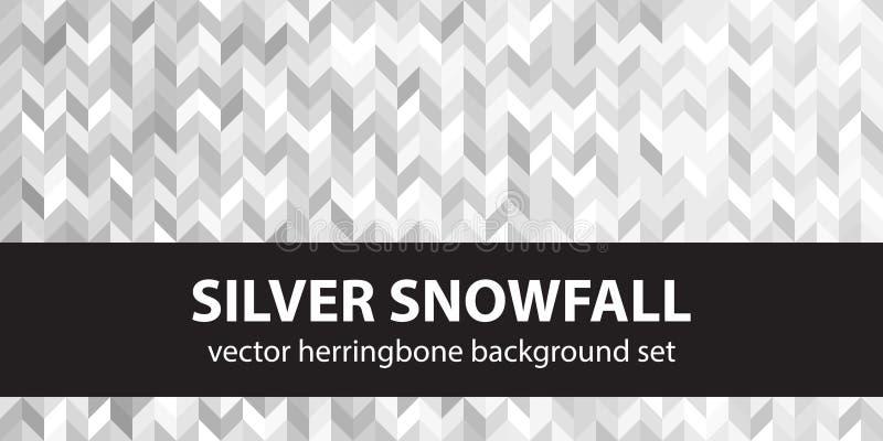 Herringbone wzoru setu srebra opad śniegu Wektorowi bezszwowi parkietowi tła ilustracji