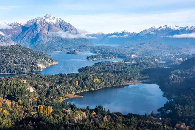 Herrliche Ansicht von der Spitze Cerros Companario in Argentinien-` s Patagonia stockbild
