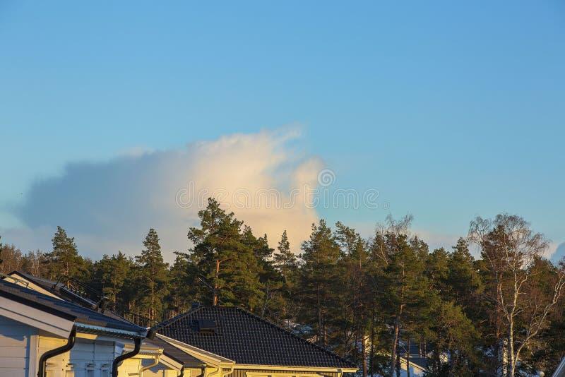 Herrliche Ansicht von Naturlandschaft an einem Frühlingstag Dächer von den Landhäusern, von Wald, von blauem Himmel und von Wolke lizenzfreie stockbilder