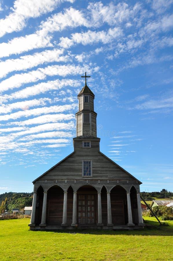 Herrliche farbige und hölzerne Kirchen, Chiloe-Insel, Chile stockfotografie