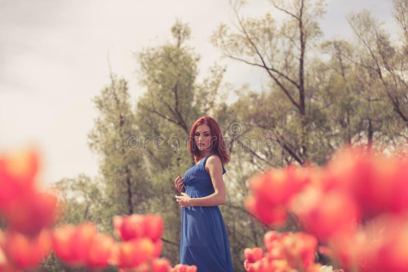 Download Herrliche Frau Auf Dem Roten Blumengebiet Stockfoto - Bild von spaß, frau: 90226162