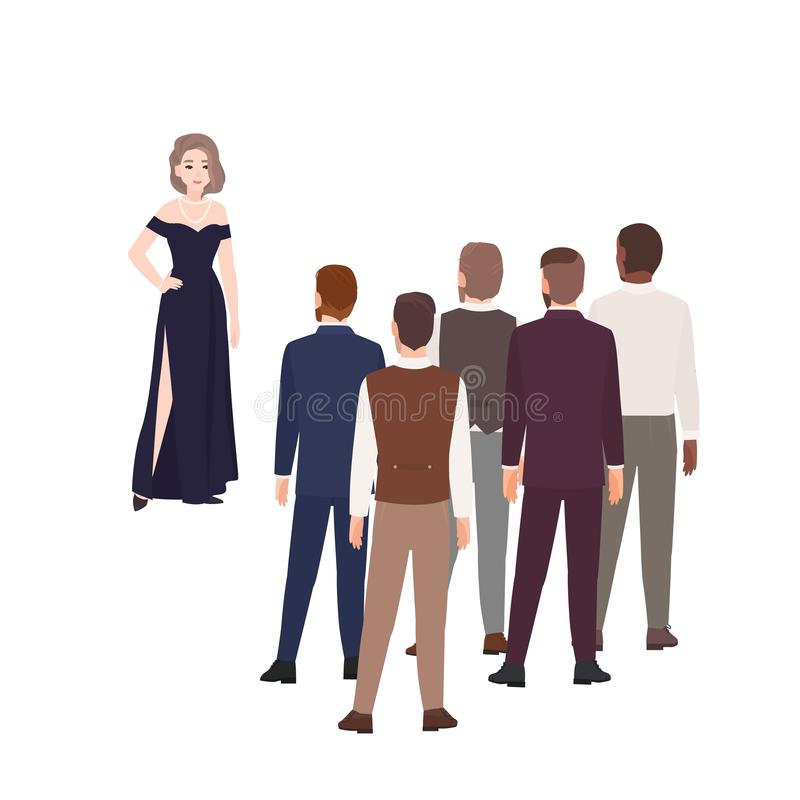 Herrliche Frau in der Abendkleiderstellung vor Gruppe Männern gekleidet in der formalen Kleidung Konzept des Mädchenwählens stock abbildung