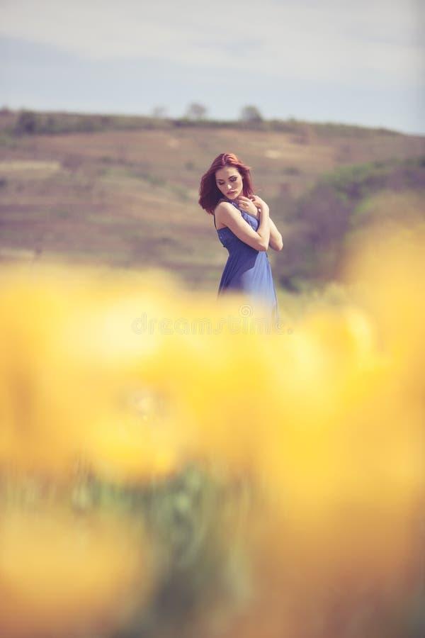 Download Herrliche Frau Im Blauen Kleid Auf Dem Blumengebiet Am Sonnigen Tag Stockfoto - Bild von gesicht, person: 90225292