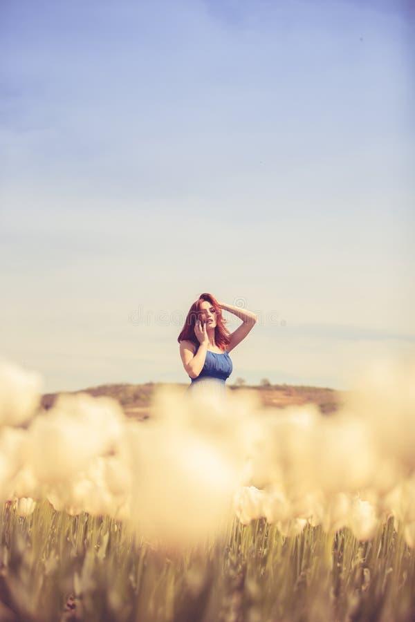 Download Herrliche Frau Im Blauen Kleid Auf Dem Tulpengebiet Stockbild - Bild von leute, field: 90226309