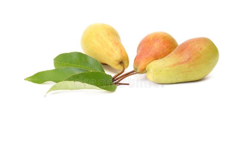 Herrliche, geschmackvolle Birnen auf einem Weiß. stockfoto
