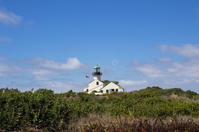 Herrliche helle Ansicht des alten Punktes Loma Light House in San Diego, Kalifornien stockbild