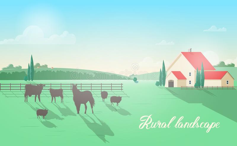Herrliche ländliche Landschaft mit den Haustieren, die auf Wiese gegen Bretterzaun, Wirtschaftsgebäude, grüne Hügel weiden lassen lizenzfreie abbildung