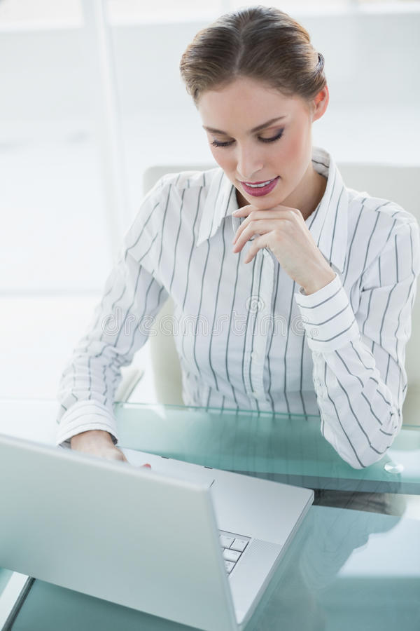 Herrliche ruhige Geschäftsfrau, die mit ihrem Notizbuch arbeitet lizenzfreie stockfotos