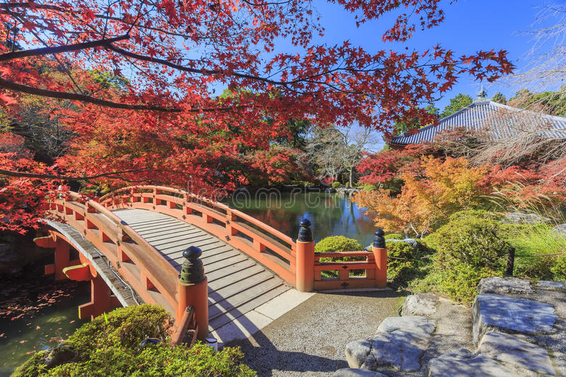 Herrlicher Ausblick, Fallfarbe an Daigoji-Tempel, Japan im Herbst stockfoto
