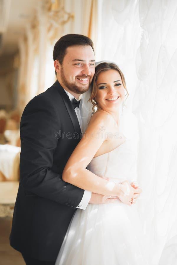 Herrlicher Bräutigam, der leicht stilvolle Braut umarmt Sinnlicher Moment von Luxushochzeitspaaren stockbilder