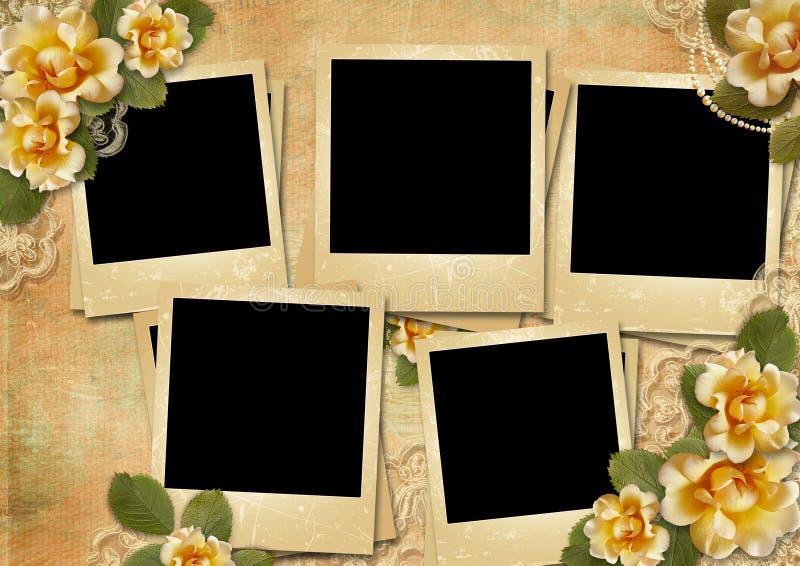 Herrlicher Hintergrund der Weinlese mit Polaroidrahmen und Rosen stock abbildung