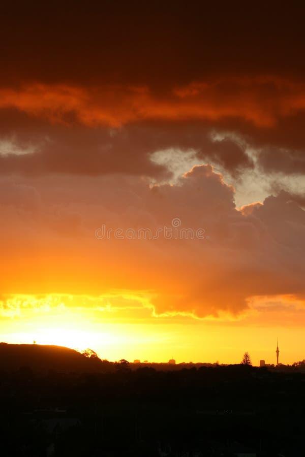 Herrlicher Sonnenuntergang über Auckland lizenzfreie stockfotografie