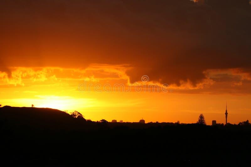 Herrlicher Sonnenuntergang über Auckland lizenzfreie stockfotos