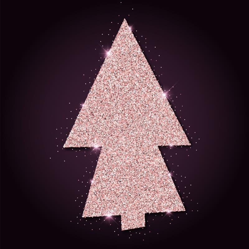 Herrlicher Weihnachtsbaum des rosa goldenen Funkelns lizenzfreie abbildung