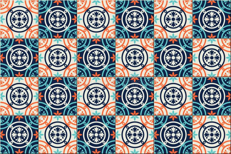 Herrliches nahtloses Muster marokkanisch, portugiesische Fliesen, Azulejo, Verzierungen Kann für Tapete, Musterfüllen, Netz verwe stock abbildung